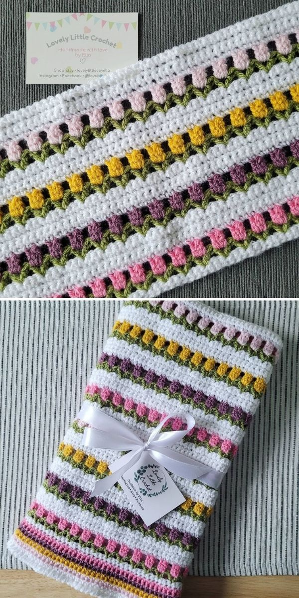 colorful rows of tulip stitch in a blanket