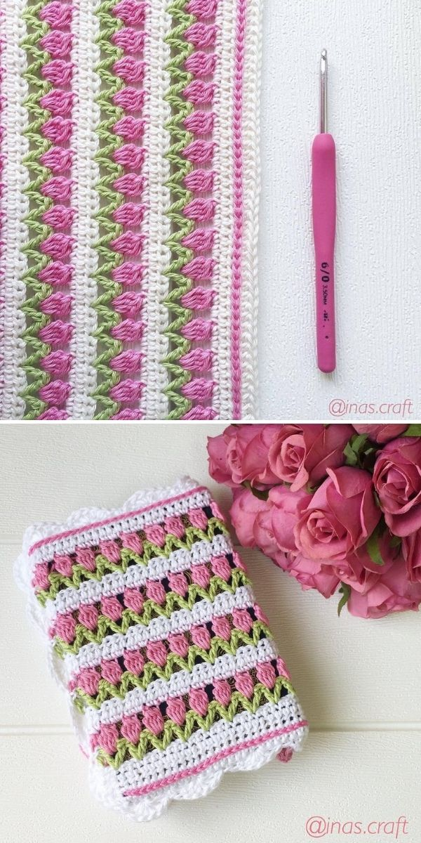 white and pink flower blanket