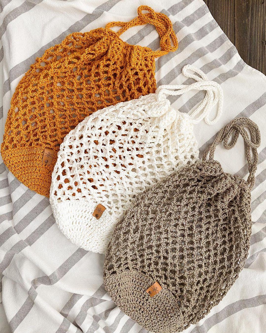 three crochet market bags