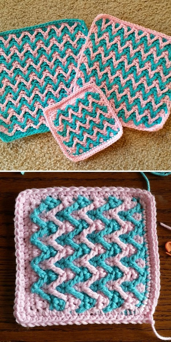 pink and blue chevron pattern dishcloths