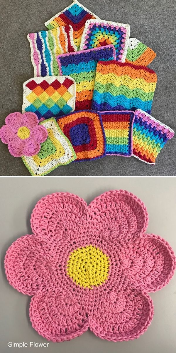array of rainbow colored dishcloths