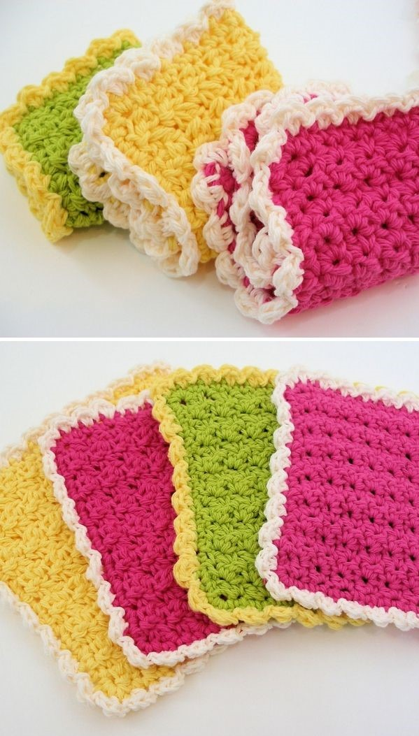 colorful dishcloths with scalloped edgings