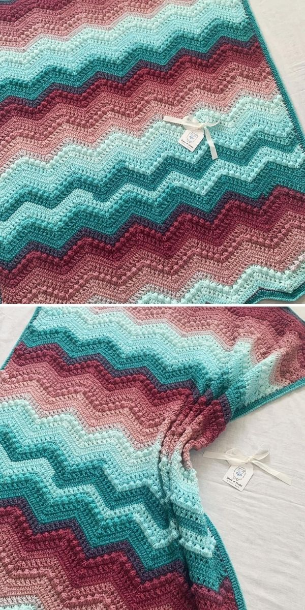 ombre zig-zag blanket in teal and brown