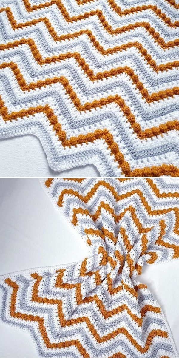 zig-zag blanket in grey, white and rusty brown