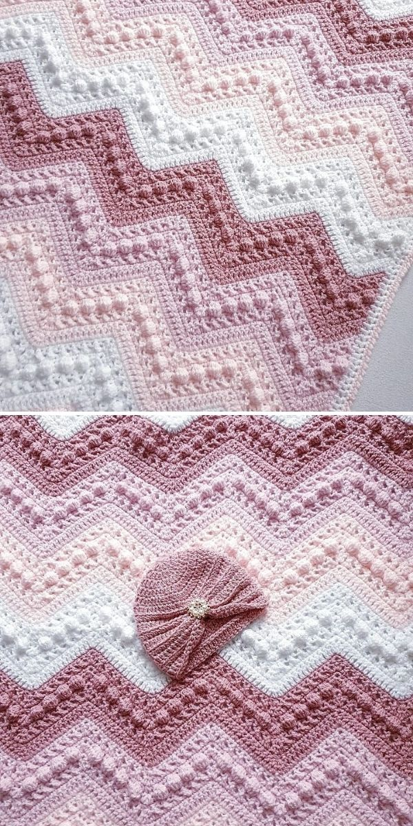 zig-zag blanket in rose colors