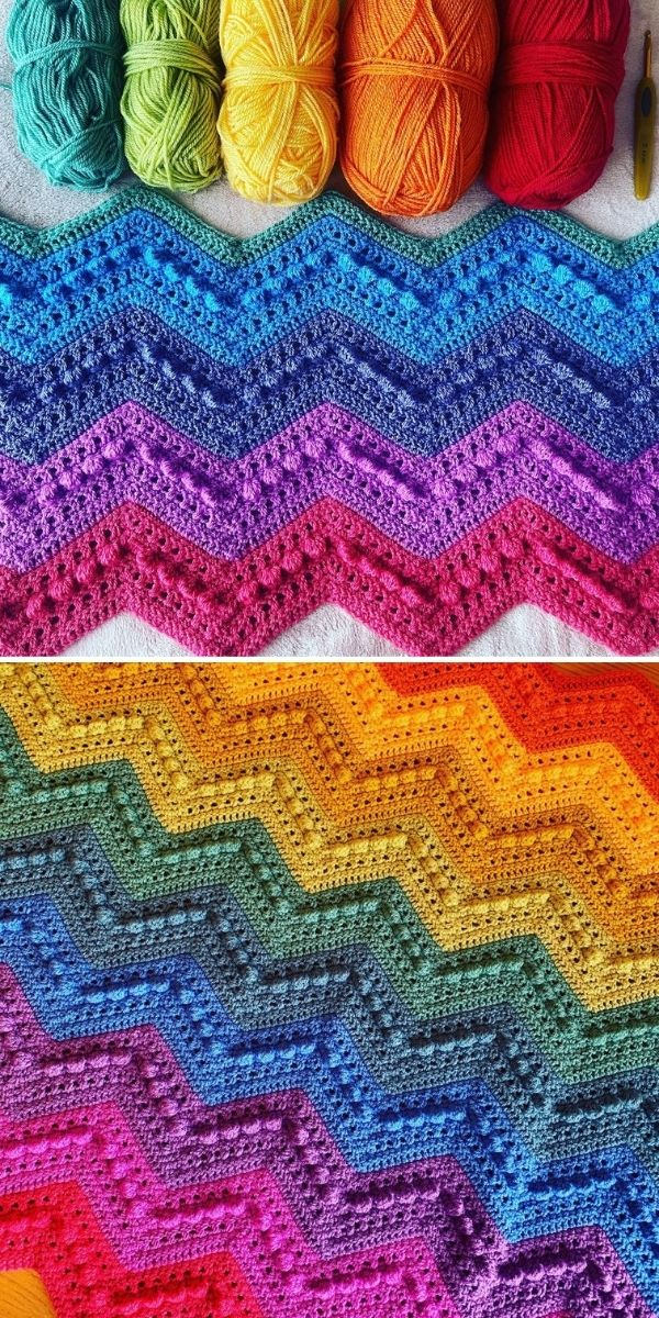 rainbow-colored blanket and yarn skeins