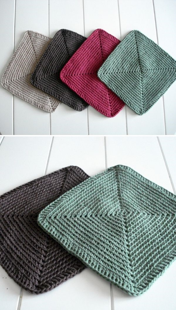 square simple dishcloths in toned colors