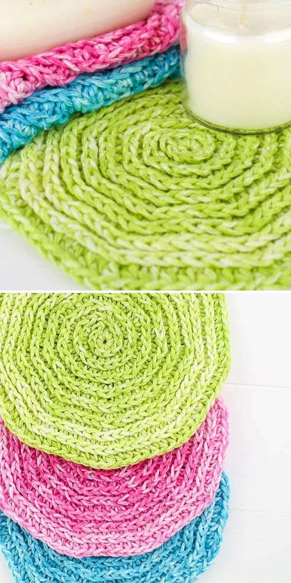 circular dishcloths in vibrant colors