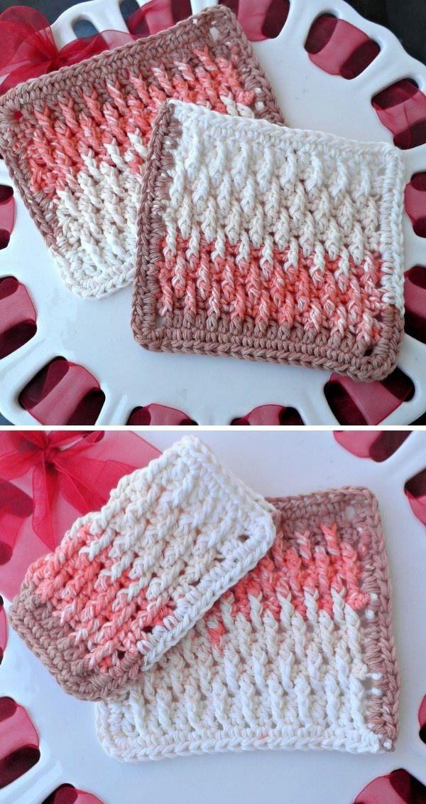 alpine stitch dishcloths in white and pink