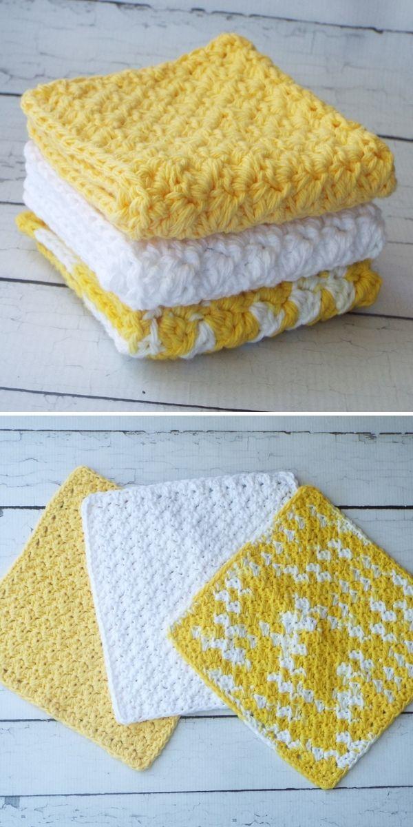 yellow and white set of dishcloths