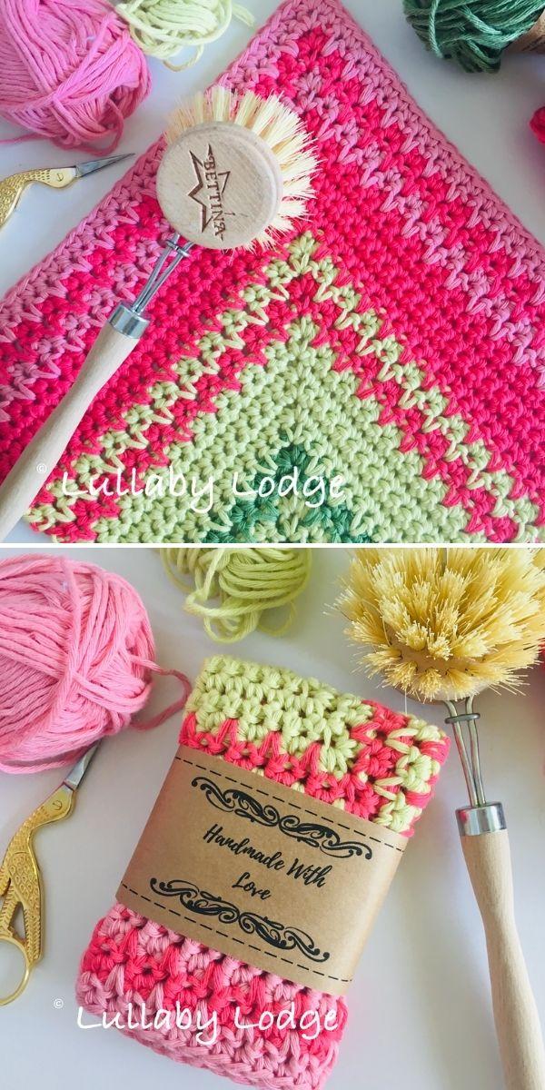 vibrant crochet dishcloth with yarn