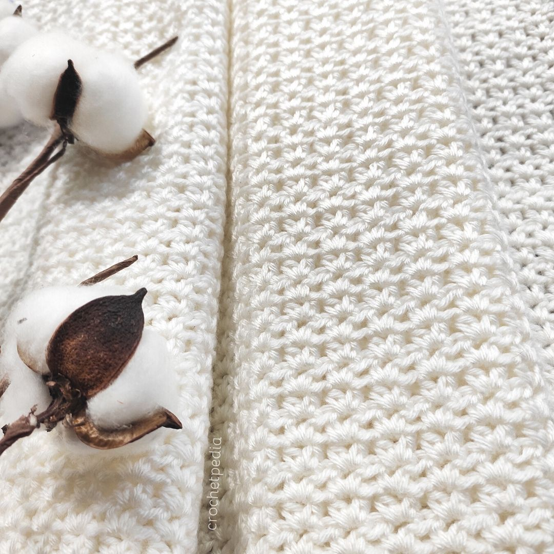 close-up of white baby blanket