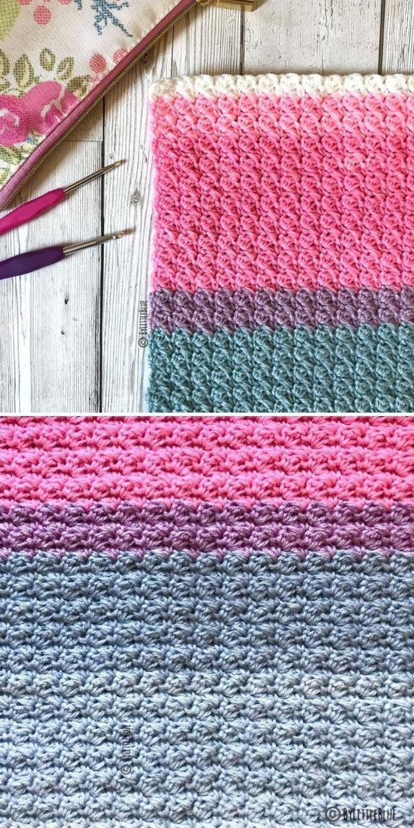 pink and grey crochet stitch