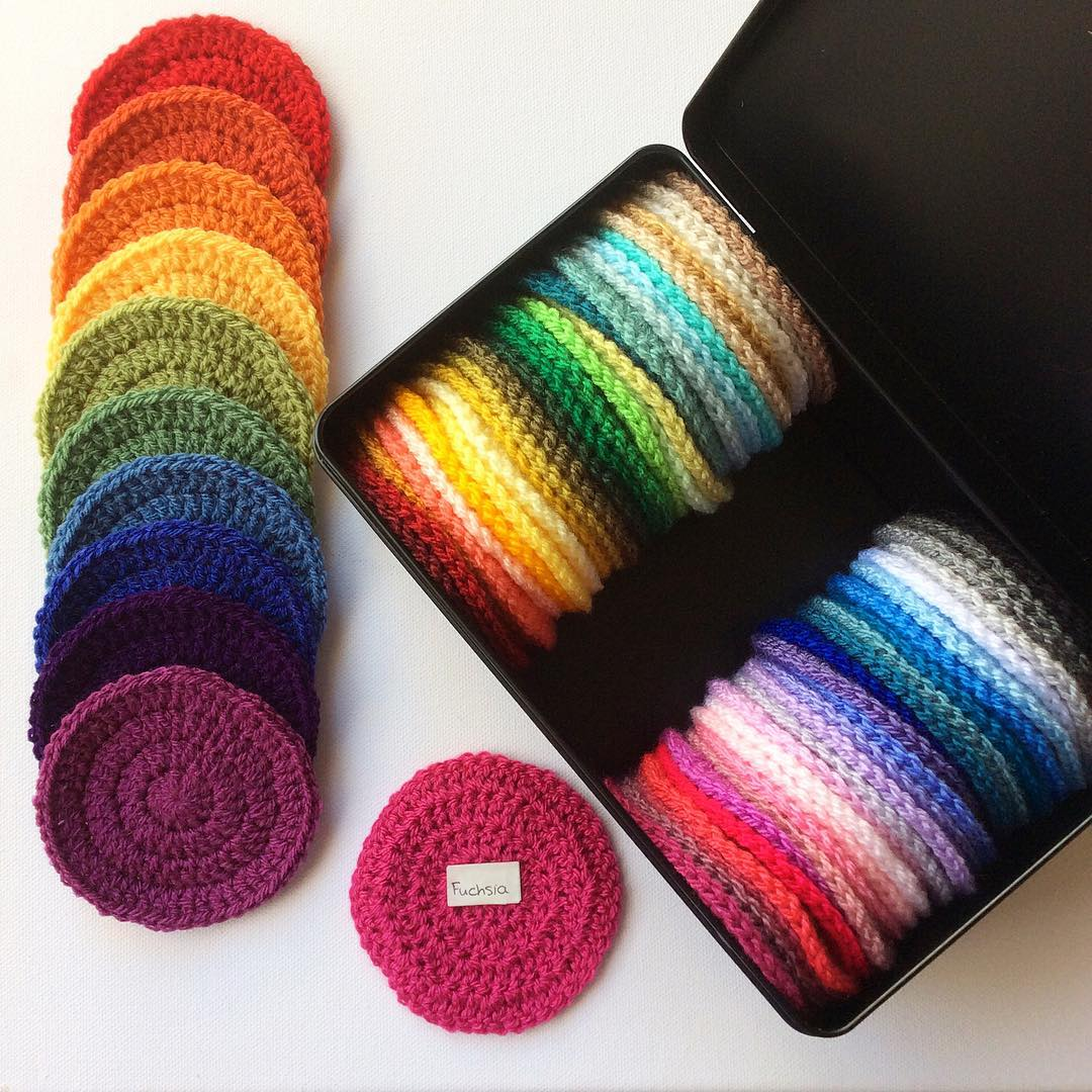 yarn swatches in crocheted circles