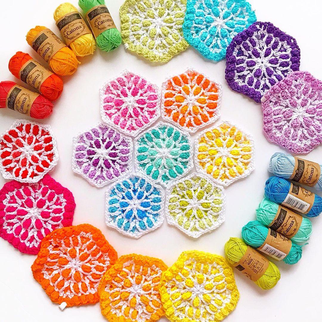 colorful crochet hexagons