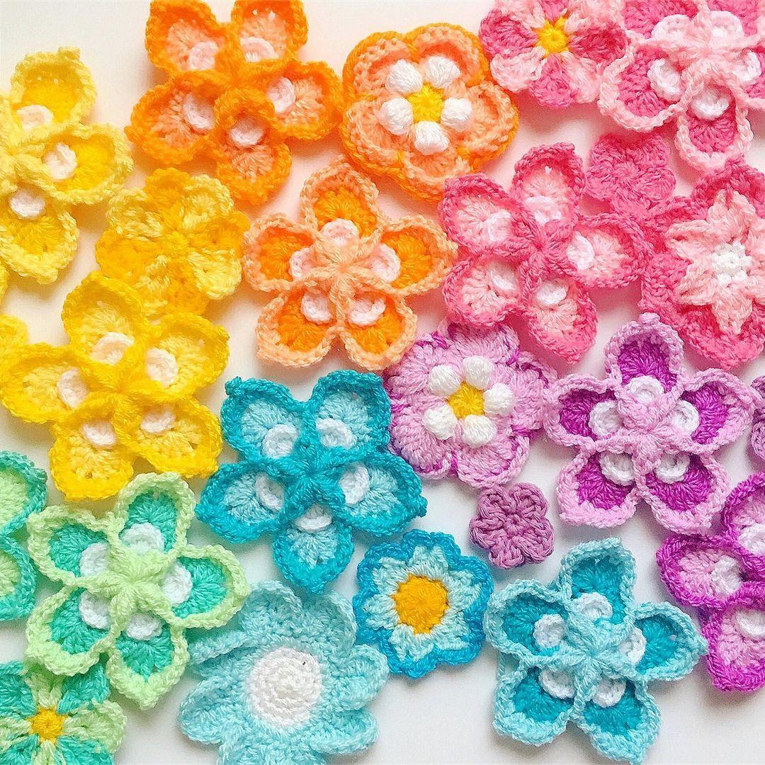colorful crochet flowers